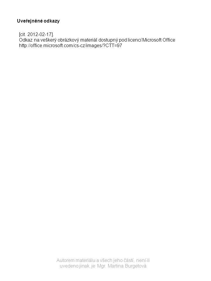 Uveřejněné odkazy [cit. 2012-02-17]. Odkaz na veškerý obrázkový materiál dostupný pod licencí Microsoft Office.